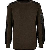 Boys khaki ribbed shoulder sweater