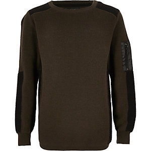 Boys khaki ribbed shoulder jumper