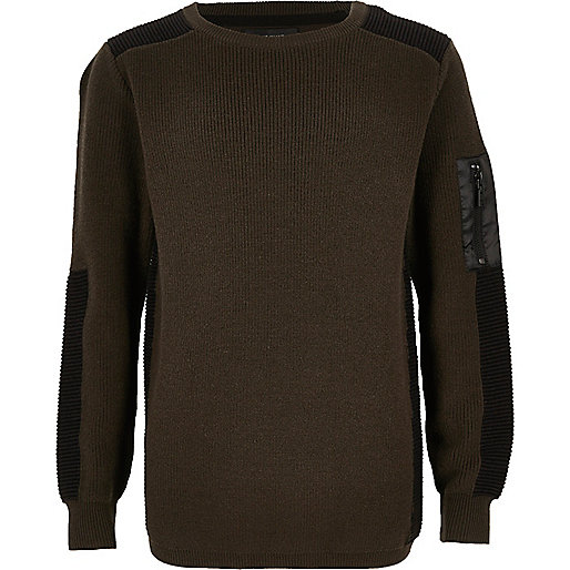 Pullover mit gerippten Schultern in Khaki