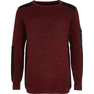 Boys red ribbed shoulder jumper