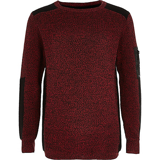 Boys red ribbed shoulder sweater