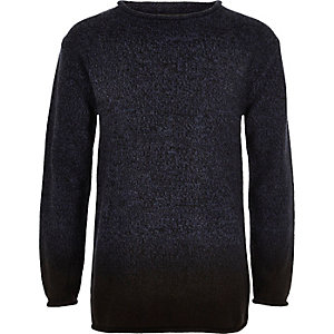 Boys navy dip dye knit jumper