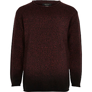 Boys red dip dye knit sweater