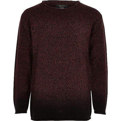 Boys red dip dye knit jumper