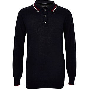 Boys navy long sleeve polo shirt
