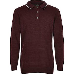 Dunkelrotes langärmeliges Poloshirt für Jungen