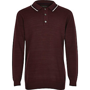 Boys dark red long sleeve polo shirt