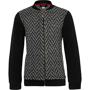 Boys black zig zag knit bomber jacket