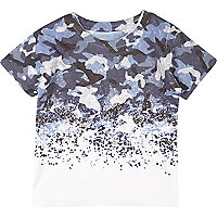 Mini boys blue faded print t-shirt