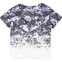 T-shirt imprimé délavé bleu pour mini garçon
