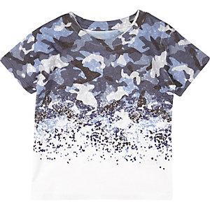 Mini boys blue faded print t-shirt