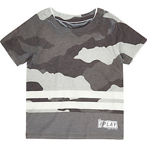 Mini boys grey camouflage stripe t-shirt
