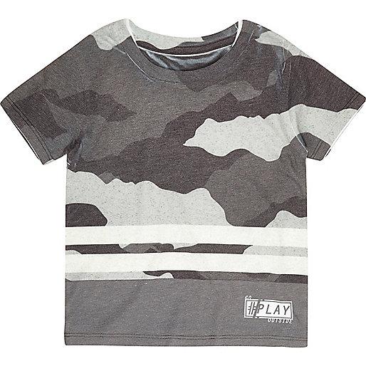 T-shirt rayé camouflage gris mini garçon