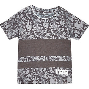 Mini boys grey graphic print t-shirt