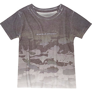 Mini boys grey camo T-shirt