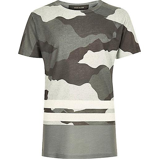 Boys grey camo stripe T-shirt