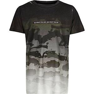 Boys grey faded camouflage print t-shirt