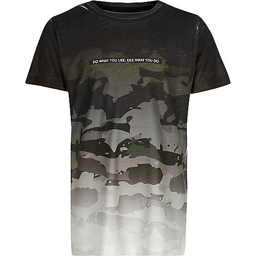 Boys grey faded camo T-shirt