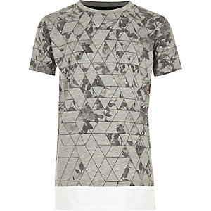 Boys grey print layered T-shirt