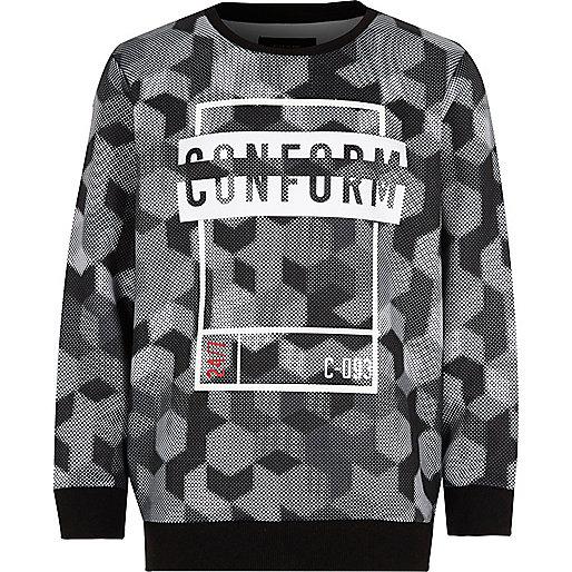 Boys black 'conform' print sweatshirt