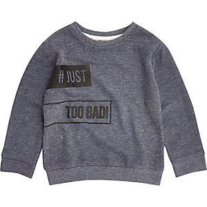 Mini boys blue slogan sweatshirt