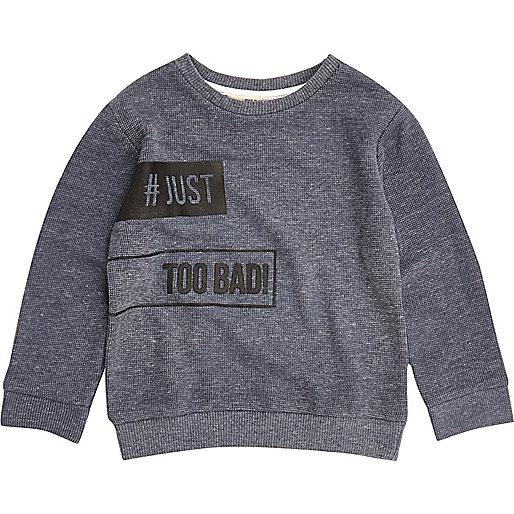 Mini boys blue slogan sweatshirt