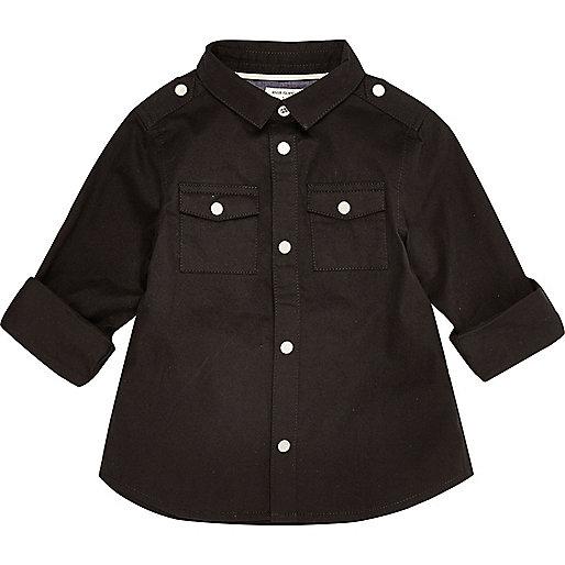 Mini boys black military shirt