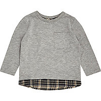 Mini boys grey layered T-shirt