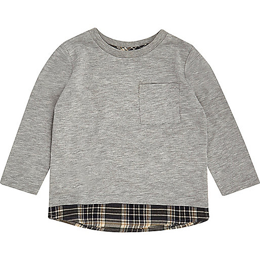 T-shirt gris à superposition mini garçon