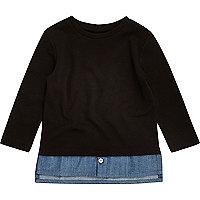 Mini boys black denim layer T-shirt