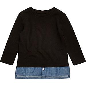 Mini – Schwarzes Jeans-T-Shirt in Lagenoptik für Jungen