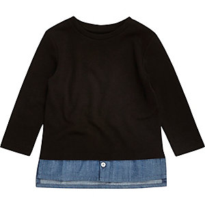 Mini boys black denim layer T-shirt