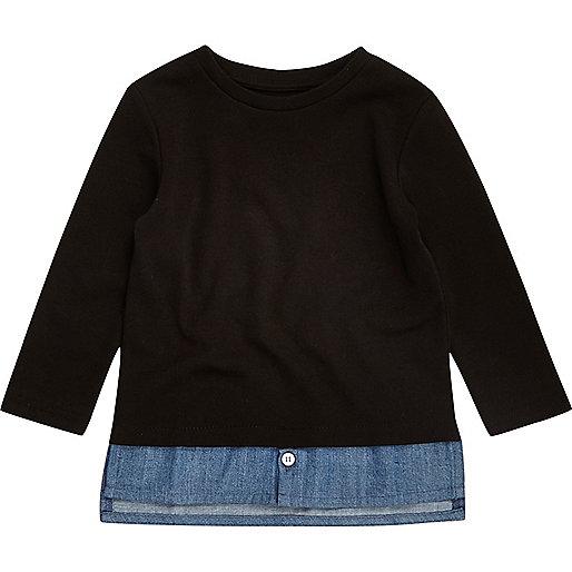 T-shirt noir avec superposition en jean mini garçon