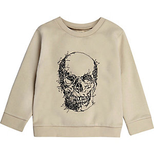 Mini boys ecru skull embroidered sweatshirt
