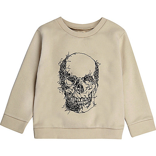 Besticktes Sweatshirt in Ecru mit Totenkopfmotiv