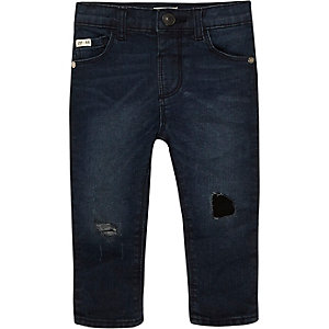Mini boys dark wash ripped skinny jeans