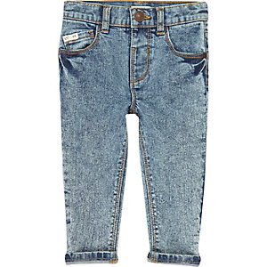 Mini boys blue acid wash skinny jeans