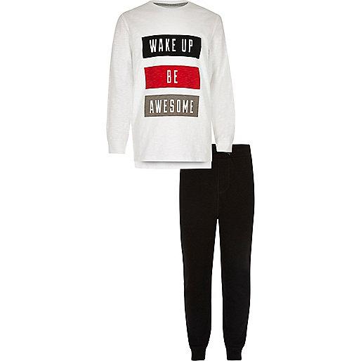 Boys white 'wake up' print pajama set