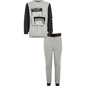 Boys grey 'noir' print top and joggers set
