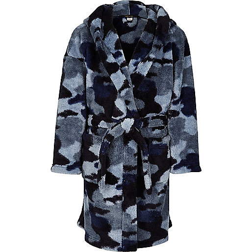 Boys blue camo dressing gown
