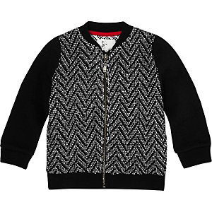 Mini boys black zig zag knit bomber jacket