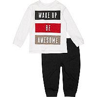 Mini boys white top and joggers pyjama set