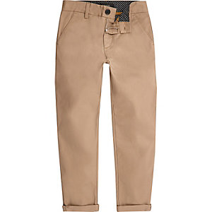 Boys tan slim chino trousers