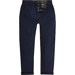 Boys navy slim chino trousers
