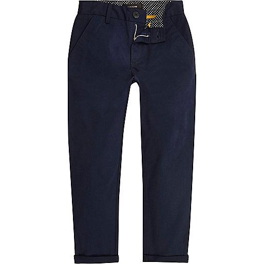 Boys navy slim chino trousers