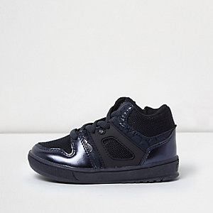 Mini boys metallic blue sports hi tops