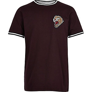 T-shirt violet avec écusson tigre pour garçon