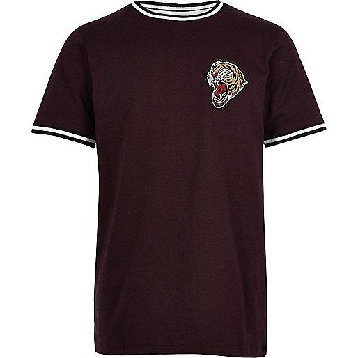 Boys purple tiger crest t-shirt
