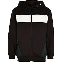 Boys black block zip up hoodie