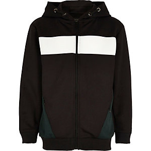 Boys black block zip up hoodie